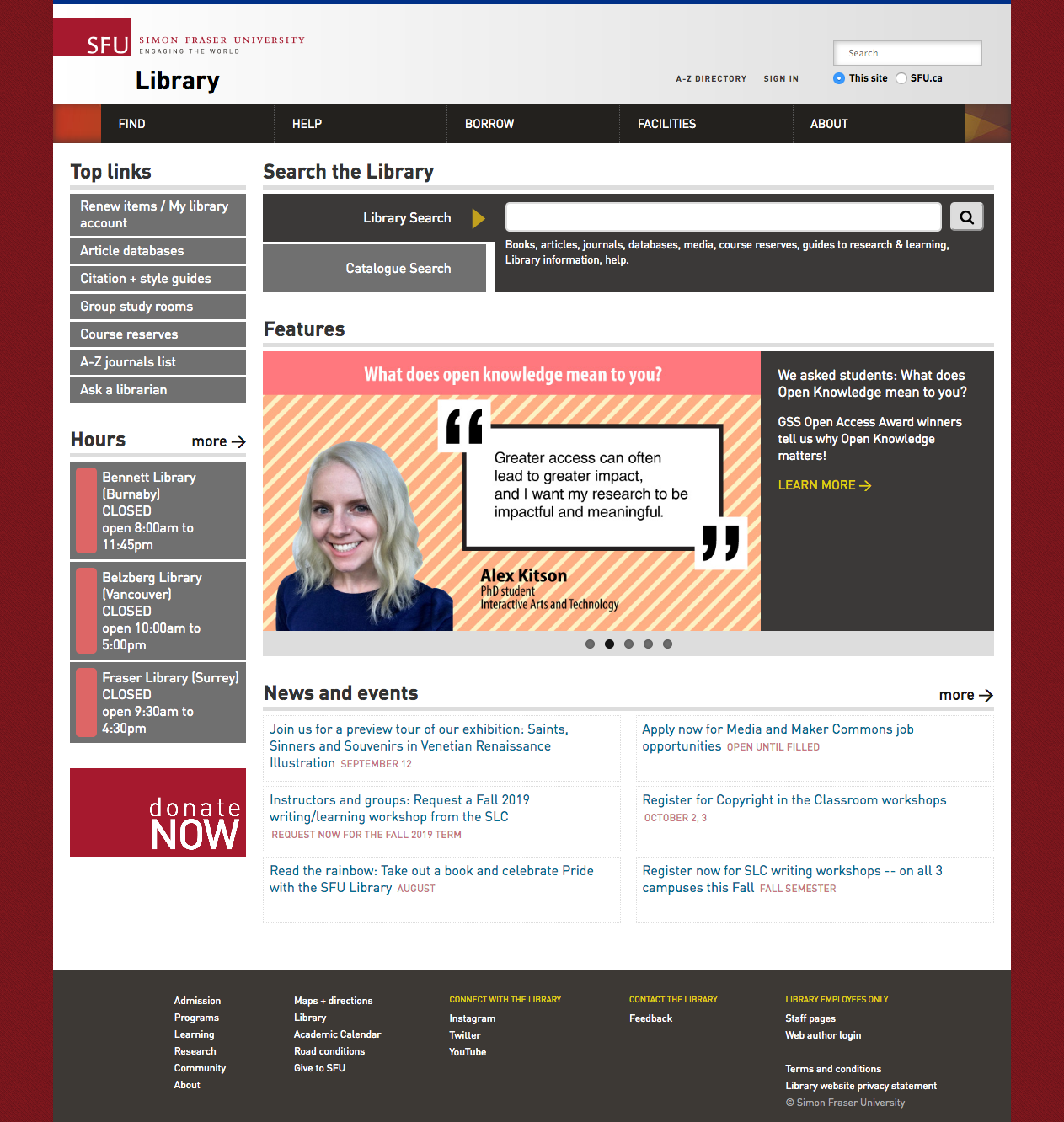 SFU LIbrary Website